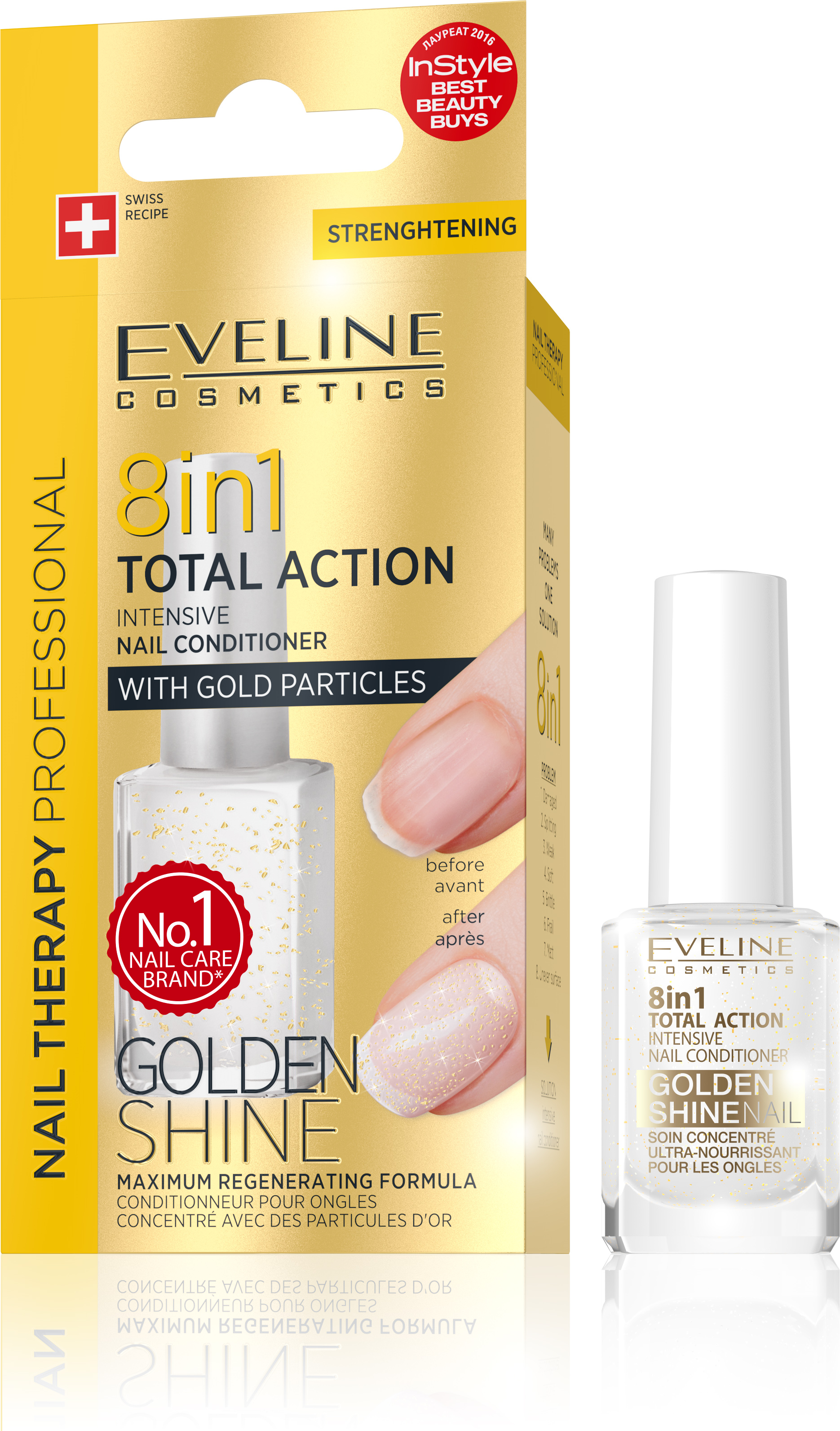 EVELINE lak na nechty TOTAL ACTION 8v1 GOLDEN SHINE