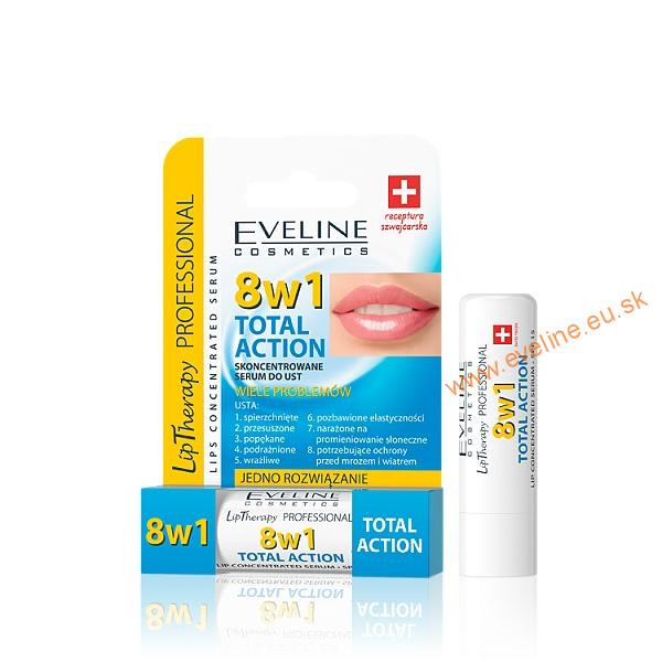 EVELINE Lip Therapy PROFESSIONAL pomáda na pery 8v1 TOTAL ACTION