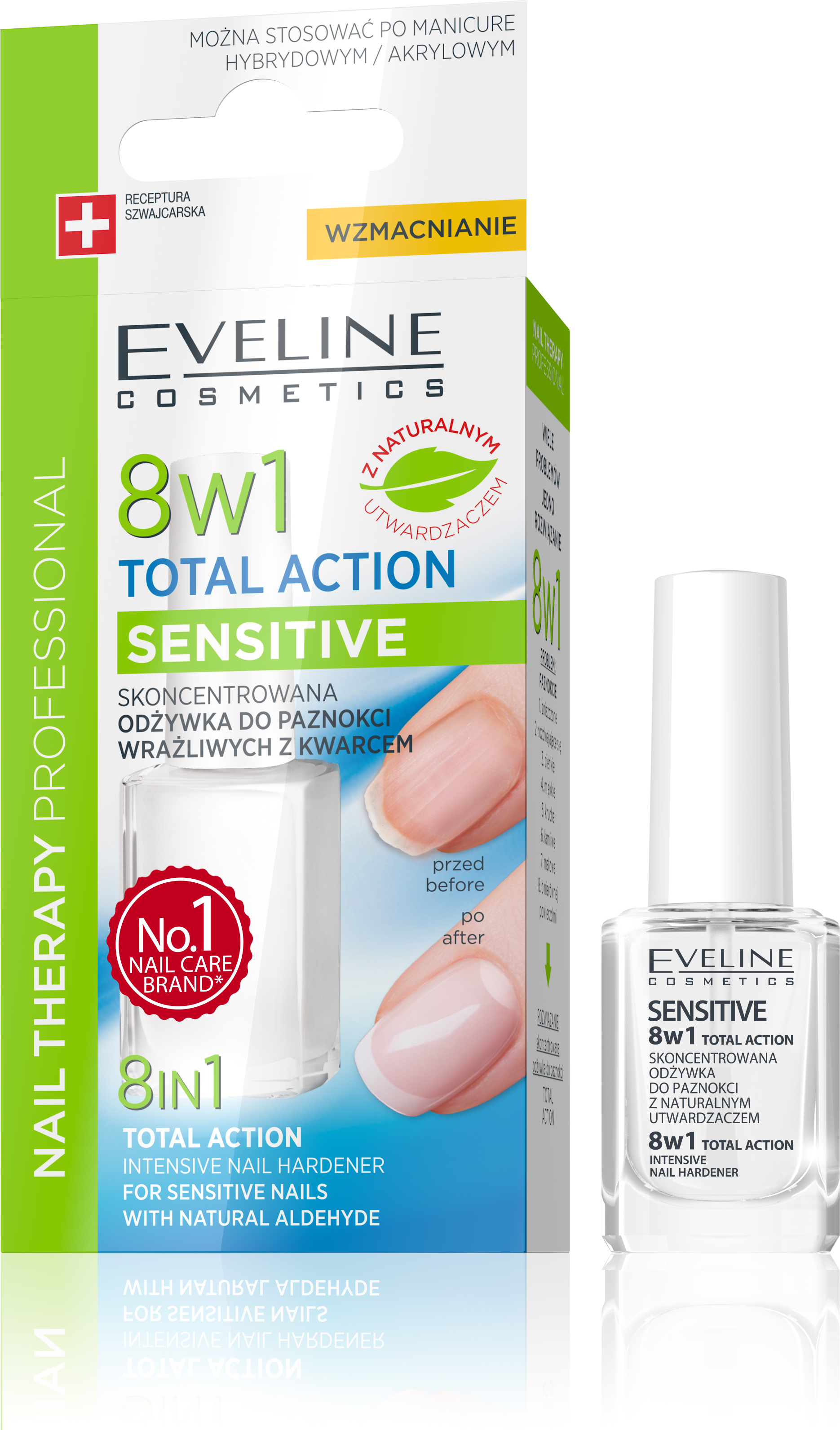 EVELINE lak na nechty TOTAL ACTION 8v1 SENSITIVE