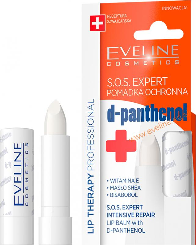 EVELINE Lip Therapy PROFESSIONAL pomáda na pery S.O.S. EXPERT s d-pantenolom