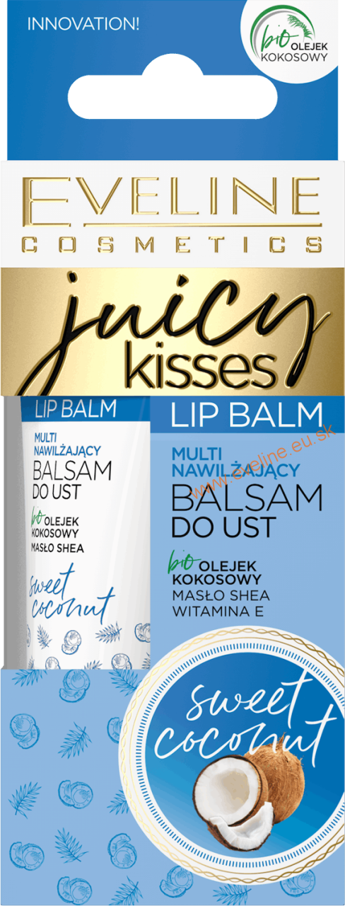 EVELINE Juicy Kisses balzam na pery-sladký kokos