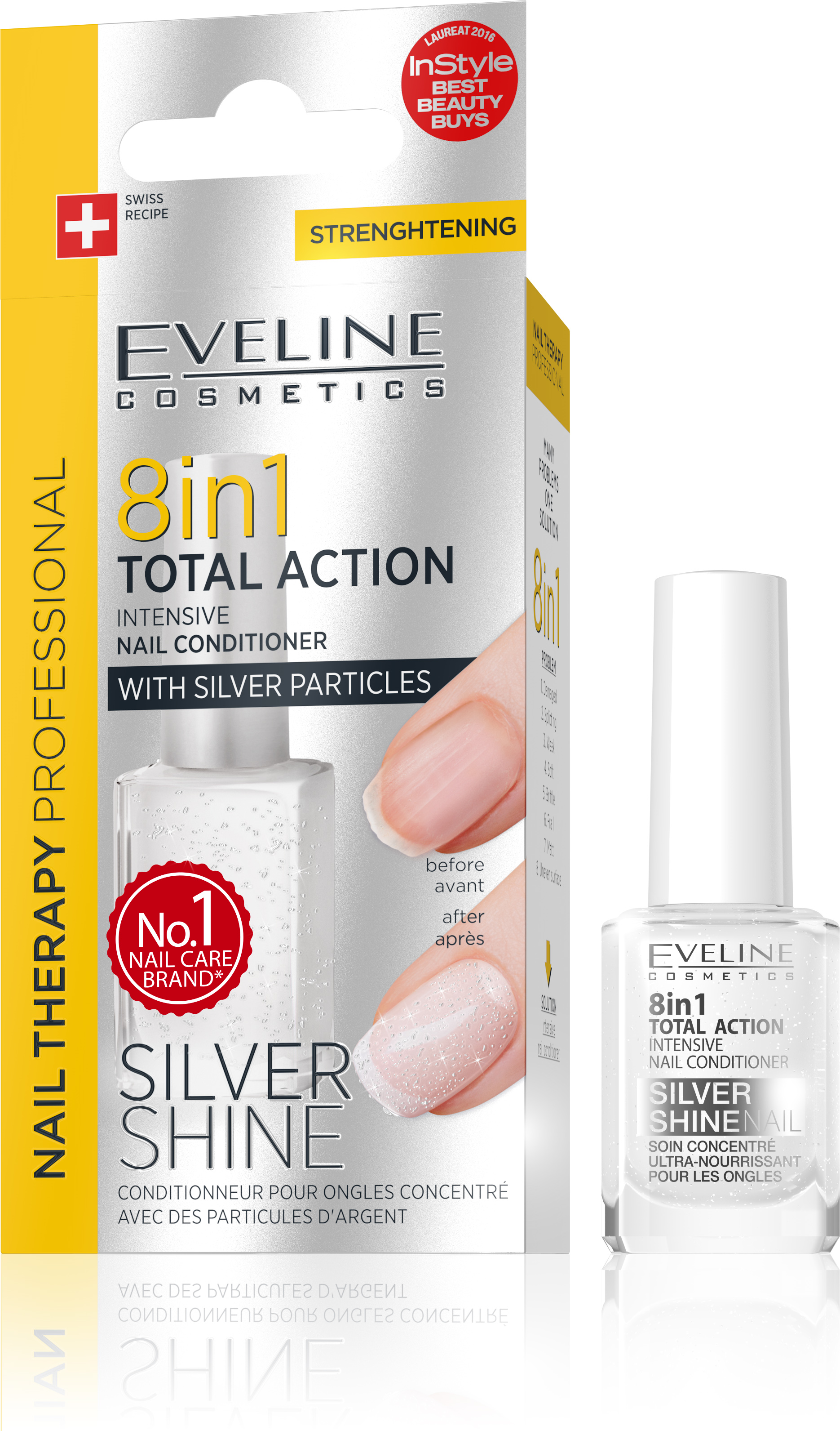 EVELINE lak na nechty TOTAL ACTION 8v1 SILVER SHINE