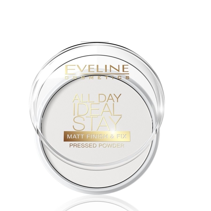 EVELINE zmatňujúci a fixačný púder transparent All day IDEAL STAY 8v1